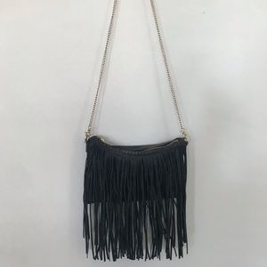 Black fringe crossbody/clutch with gold chain